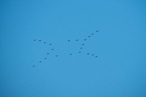 JULESTJERNE: 23 F-16 jagerfly i tett formasjon over Bardufoss fredag.