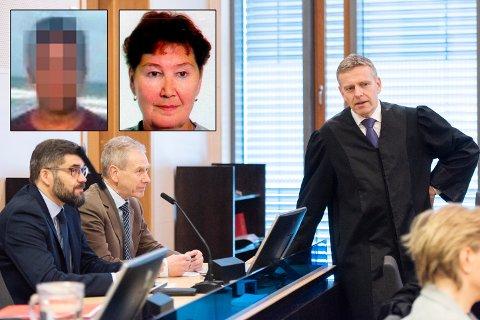 20 ÅR SIDEN: Marie-Louise Bendiktsen (59) (innfelt til høyre) ble funnet drept 15. juli 1998. Over 20 år senere går straffesaken mot en 38-årig mann (innfelt til venstre) i Nord-Troms tingrett. Her er de sakkyndige Tor Arne Hansen, Lars Uhlin-Hansen og statsadvokat Torstein Lindquister.