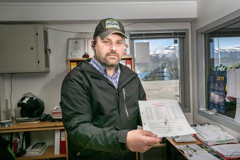 STØVETE: Geir Emil Nordby, salgssjef ved Traasdahl, viser frem støv på papirene inne på kontoret på Skattøra.