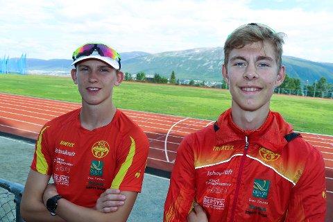 HARDTSATSENDE: Jesper Lundin og Alexander Børstad Simonsen flyttet i fjor høst til Steinkjer sammen med Haakon Hangstad, også fra Tromsø, for å satse videre på friidrett ved siden av skolegangen.