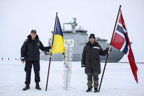 NORDPOLEN: Her er skipssjef Geir-Martin Leinebø og toktsleder Dr. Hanne Sagen.