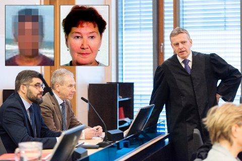 ANKESAKEN I GANG: Mannen (innfelt til venstre) er tiltalt for å ha drept Marie-Louse Bendiktsen (59) (innfelt til høyre) i 1998. Her er de sakkyndige Tor-Arne Hanssen (fra venstre), Lars Uhlin-Hanssen og statsadvokat Torstein Lindquister avbildet i rettssaken i Nord-Troms tingrett. Foto: Ivan Ortegon/Privat/Politiet