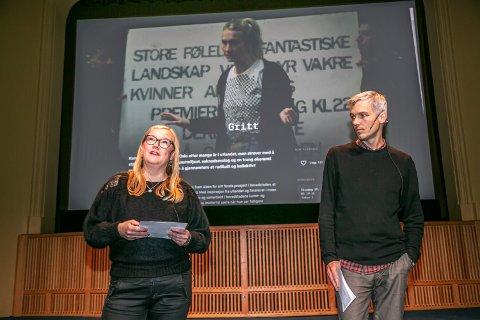 TRYGG FESTIVAL: Årets filmfestival skal være koronasikker. Her er fesivalsjef Lisa Hoen og Henning Rosenlund ved presentasjonen av programmet.