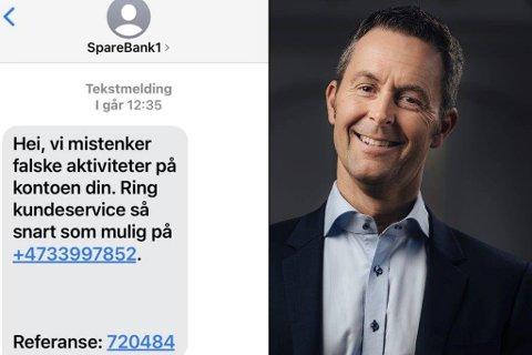 SVINDEL: Sparebanken Nord-Norge, her ved kommunikasjonsdirektør Stein Vidar Loftås, advarer mot nye, utspekulerte svindelforsøk som dette.