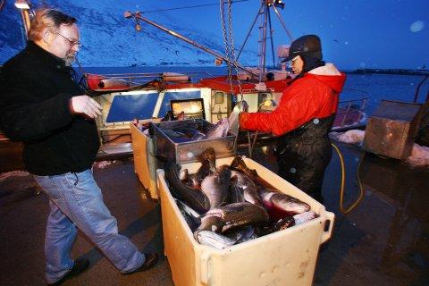MILLIARDKRIM: Steinar Eliassen (tv) mener omfanget av den organiserte kriminaliteten i fiskerinæringa utgjør to milliarder i året. Her er han avbildet på kaia ved Torsvågbruket sammen med Hedløy Jakobsen.