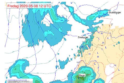 SNØ I SIKTE: Det blir snøbyger i Tromsø og store deler av Troms de neste dagene.