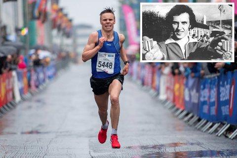 NY REKORD: Erik Lomås fra Salangen slo Jim Johansen (innfelt) sin 42 år gamle kretsrekord på 3000 meter her om dagen. Men fortsatt innehar Johansen  to nordnorske rekorder - på 5000 og 10.000 meter.