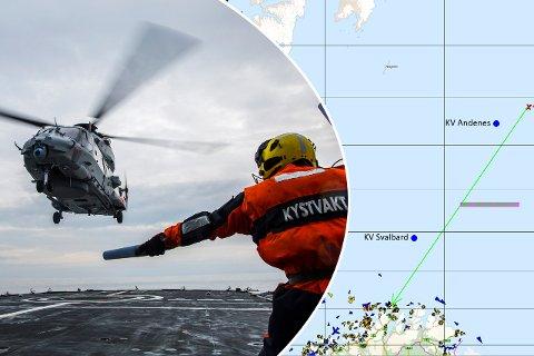 LANG REDNING: Det norske fartøyet (rød kryss) befant seg helt nordøst i Barentshavet da et av mannskapet ble skadet natt til lørdag. Foto: Forvaret/HRS