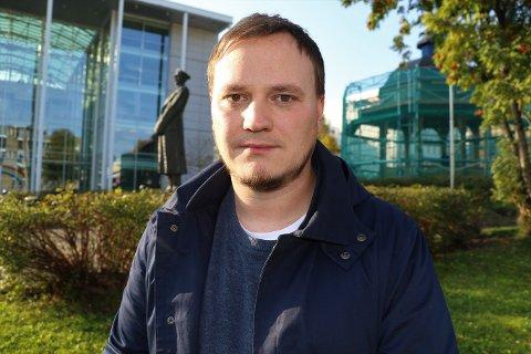 I STREIK: Jens-Thomas Steinhaug er tillitsvalgt for de nesten 40 streikende vekterne i Tromsø for tiden.
