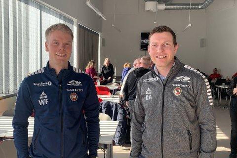 FORSØKER FORSONING: TILs William Frantzen og Øyvind Alapnes møtte Isberget i Bjerkakerhallen lørdag.