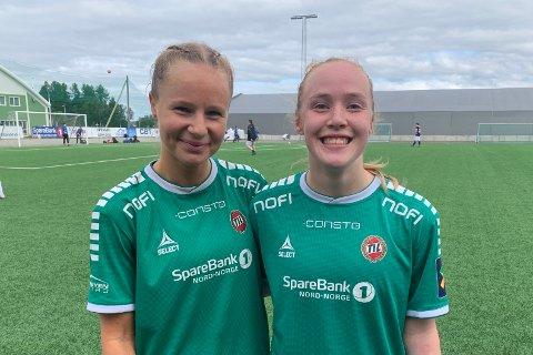FLØYA-SEIER: Sandra Simonsen og Ina Birkelund etter 2-1 mot Øvrevoll Hosle lørdag 14. august 2021.