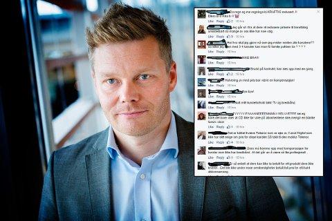Tormod Sandstø, informasjonssjef i Telenor Norge. Innfelt: Skjermbilde av noen av de mange hundre klagene på Canal Digitals offisielle Facebook-side.