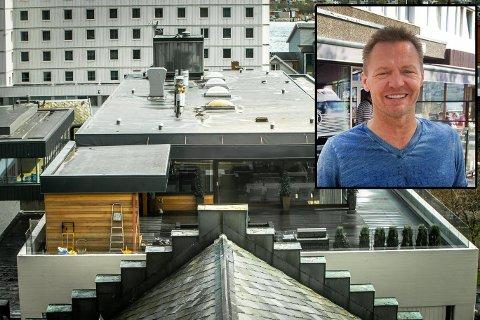 Leiligheten i Bankgata er verdsatt til 17 mill.kroner. Innfelt: Eier Morten Lønstad i Steakers Holding