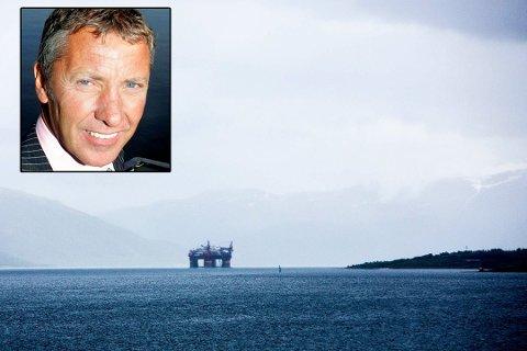 Oljerigg på vei inn til Tromsø og Grøtsund. Innfelt: Oddmund Åsen