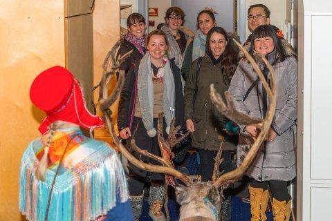 Her får turoperatører fra Europa en opplevelse for livet da Scandic i Karasjok dro en levende rein inn på hotellet.