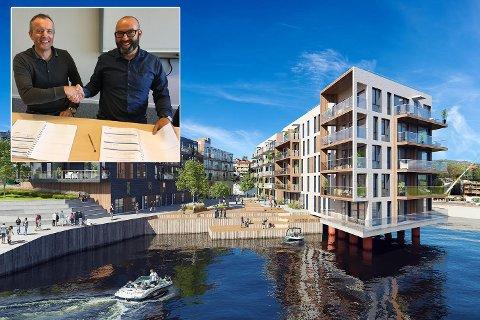 Boligprosjektet Nyhavn omfatter to byggetrinn med i alt 84 leiligheter. Nå er det klart for første byggetrinn med 45 enheter. Arkitekt for prosjektet er TAG Arkitekter AS. Daglig leder i Consto Bergen, Arve Sande, ønsker Barlindhaug Eiendom med prosjektleder John Arne Worum velkommen til Bergen med boligprosjektet Nyhavn.