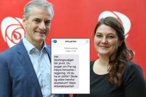AP-SMS: Arbeiderpartiet brukte en halv million kroner på å sende ut en halv million SMS-er søndag til velgere over hele Norge.