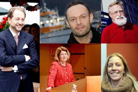 Kjell Inge Røkke, Torgeir Knag Fylkesnes, Bjørn Hersoug, Anne Husebekk og Nina Jensen.