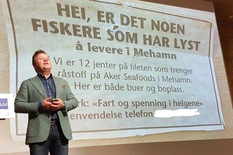 FART OG SPENNING I FISKERINÆRINGEN: Denne annonsen ga stor repons, ifølge Arne Hjeltnes.