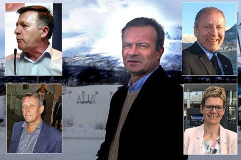 IKKE BESTEMT SEG: John Karlsen (Frp), Gunnar Wilhelmsen (Ap), Willy Ørnebakk (Ap), Geir-Inge Sivertsen (H) og administrasjonssjef i Tromsø kommune, Britt Elin Steinveg.