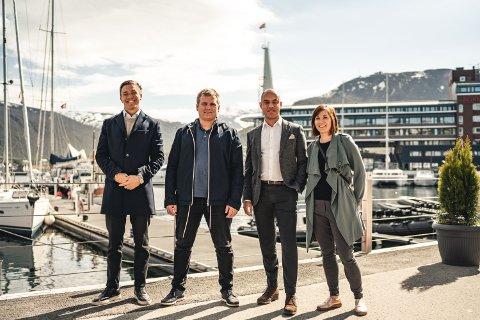 STARTET NETTVERK: Fra venstre Andreas Arild i JM Hansen Eiendom, Morten Jørgensen fra Acea Proteperties, Stephan Alexandre fra Tiger og Carina Johnsen fra AS TACO.