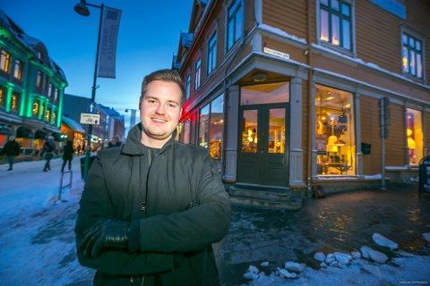 HOS HAAKON: Her - i de gamle lokalene til Gautes Interiør - skal Haakon Bredrup (23) åpne ny møbel og interiørbutikk under navnet «Hos Haakon».
