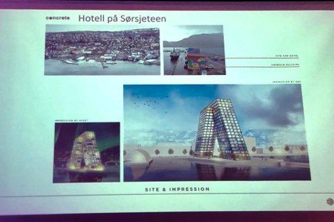 Denne skissen viste Christian Ringnes av hotellet han ser for seg å bygge på sørsjeteen