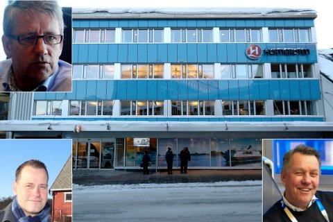 LEIETAKER: Hurtigruten leier i dag et skreddersydd forretningsbygg i Fredrik Langes gate, som eies av Harila Gruppen Eiendom. Innfelt: Tormod Harila, Bård Brevik Harila og Gunnar Wilhelmsen.