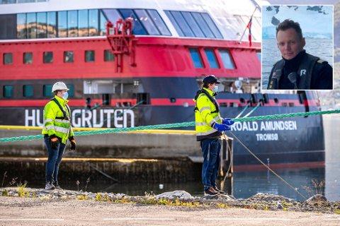 KORONASKANDALEN: Bildet ble tatt da hurtigruteskipet Roald Amundsen lå til kai i Tromsø, og alle om bord var i karantene. Innfelt: Kristian Sæterhaug.