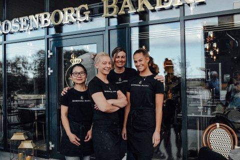TRENGER KOLLEGER: Rosenborg Bakeri har hyret tilbake alle pandemi-permitterte og utvider staben. Amy Wee,Tonje Stene, Kristi Helgesen og Tiril Megård er blant de som skal jobbe i det nye utsalget på Rosenborg.
