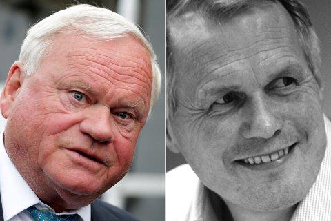 Mowi-eier John Fredriksen (til venstre) og Salmar-topp Gustav Witzøe skal ifølge DN være blant budgiverne på det Nærøysund-baserte havbruksselskapet Salmonor.