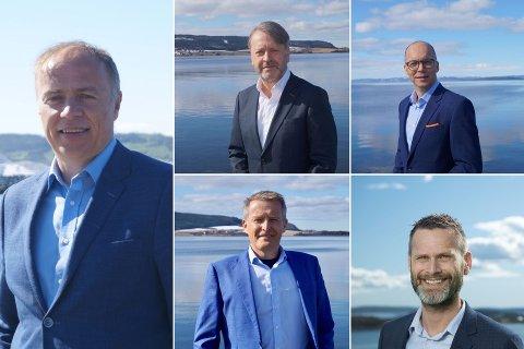 NYSTARTET SELSKAP: Ocean GeoLoop skal bidra til det grønne skiftet gjennom CO2-utvinning i det blå havet. Til venstre: adm. direktør Odd-Geir Lademo. Øverst til høyre: Jan Arne Berg, Lars Strøm, Viggo Iversen og Ove lande.
