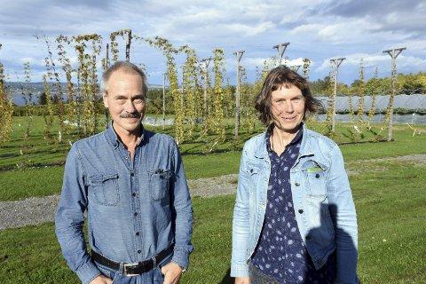 TIL ØLETS BESTE: Forskerne Mauritz Åssveen og Mette Goul Thomsen ved NIBIO på Apelsvoll skal finne fram til riktig humle og bygg for å brygg godt norsk øl. Foto: Per Skjønberg