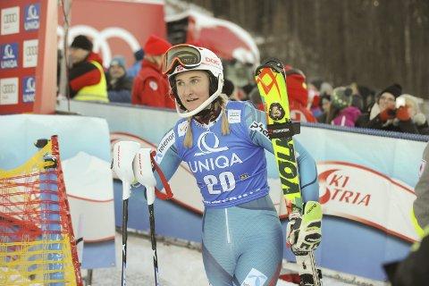 BRA START: Maren Skjøld var fornøyd da hun kom til mål på 13. plass etter første omgang i Semmering. Foto: Knut Befring