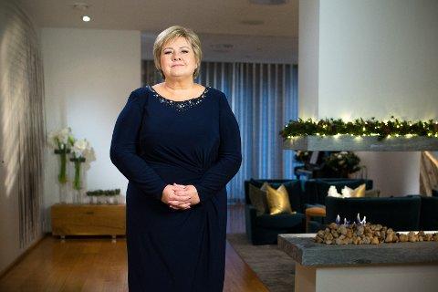 Statsminister Erna Solberg (H) holder sin nyttårstale i statsministerboligen. Foto: Audun Braastad / NTB scanpix