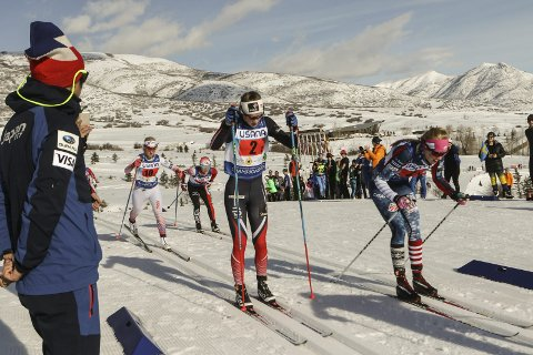HØYDESMELL: Mathilde S. Myhrvold fikk det veldig tungt på førsteetappen på søndagen stafett i junior-VM. Foto: Erik Borg