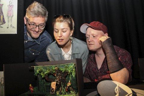 Morten Joachim (f.h), Ane Ulimoen Øverli og Torbjørn Dyrud er nominert til årets musikal for sin versjon av Sherwoodskogen.