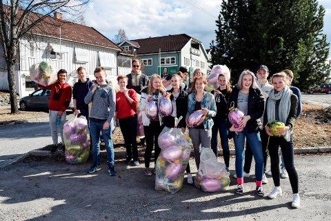 Ungdommene på Ungdommes Hus ønsker å bidra til trivsel og utvikling i Hov sentrum. Tirsdag ettermiddag hang de opp 110 påskeegg i trærne langs Sentrumsvegen.