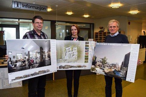 Totalramma for Labo er 622 millioner kroner. Her står f.v. Østre Toten kommunes Bjørn H. Eng, Guri Bråthen og Ole Harald Fjeldstad med vinnertegningene fra arkitektkonkurransen.
