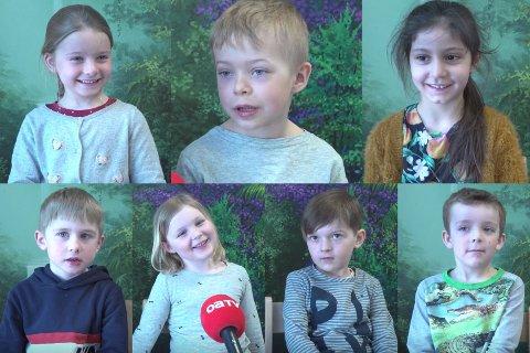 KLARE FOR PÅSKE: Pernille (oppe t.v., 5), Oskar (5), Beddur (5), Magnus (5), Linanah (6), Jesper (6) og Alvin (6) forteller om sin påske.