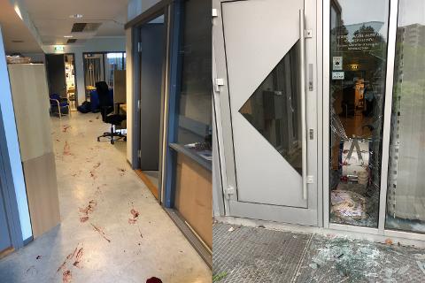 INNBRUDD: Det var blodsøl over større deler av hallen. Både i administrasjonen og i kiosken.