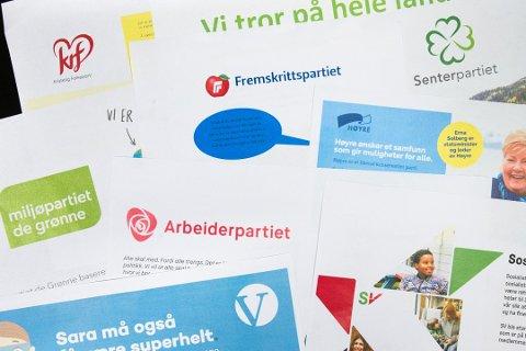 LAGET FOR BARN: De ulike partiene har partiprogrammer som er skrevet på en måte som skal være forståelig for barn. Disse er fra 2017. Foto: Arkivfoto: Audun Braastad / NTB scanpix