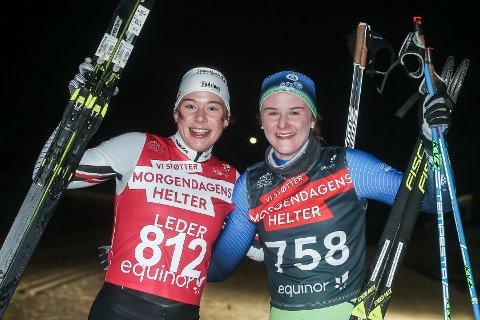 Anna Heggen (t.v.) og Tuva Johnsen jublet for sølv og femteplass i klasse 18 år på Lygna.