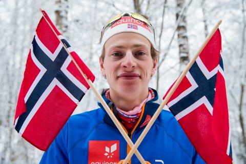 VINNER: Ansgar Evensen vinner under sprint finaler under NM på ski på Konnerud. Foto: Terje Pedersen / NTB scanpix