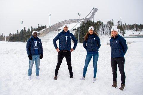 Oslo 20210112.  Grace Bullen, Abid Raja, Amalie Iuel og Maren Lundby under lanseringen av prosjektet Like Muligheter 12. januar 2021 i Oslo. Foto: LikeMuligheter / NTB