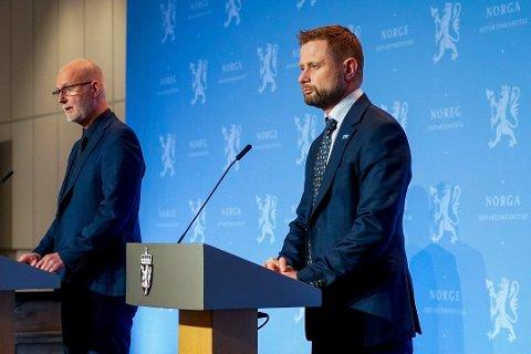 STRENGE TILTAK: Helseminister Bent Høie presenterte søndag kveld de nye smittevernreglene som også omfatter Drammen. Foto: Terje Pedersen