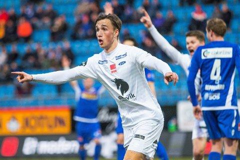 ELITESERIEMÅL: Andreas Helmersen scoret for Ranheim i eliteseriekampen mot Sandefjord i 2018.