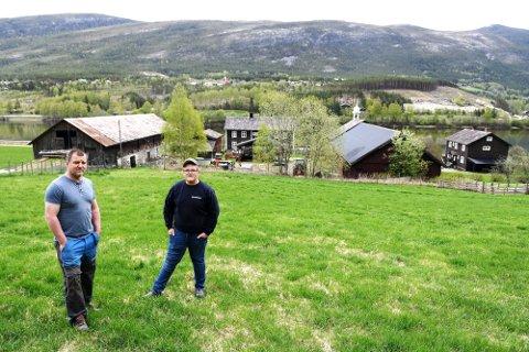 Odd Arne Myromslien. Her med sønnen Mathias. Det er sønnen Erlend som eier sauene som går på beite på Gammel-Sandbu.