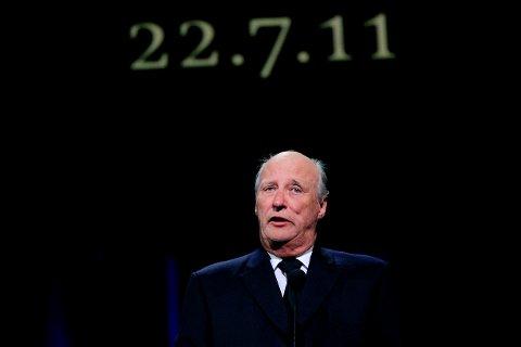 OSLO  20110821. Kong Harald holder tale under den nasjonale minneseremonien etter terrorangrepene i Oslo og på Utøya i Oslo Spektrum søndag ettermiddag. Foto: Cornelius Poppe / NTB