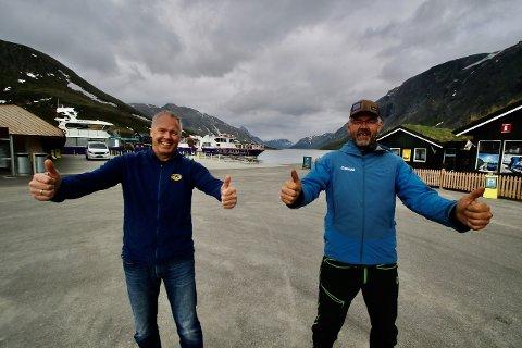 SAMARBEIDER: Direktør Atle Hovi i Beitostølen Resort og daglig leder Harald Rune Øvstedal i Gjendebåtene er entusiastiske over samarbeidet. Foto: DestinasjonsKirurgene